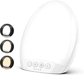 TECBOSS Lampe de Luminothérapie 10000 Lux Sans-UV LED avec Luminosité Réglable, 4 Réglages de Minuterie avec Fonction Mémoire, Format Compact, Approuvé et Certifié MHRA/CE