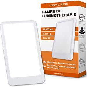 Lampe de luminothérapie 15000 lux - Puissante Lumière Anti Déprime - Lampe de Jour Réglable 3 Intensités - Efficacité Thérapeutique Prouvée contre la Dépression Saisonnière (10000 lux, 6000 lux)
